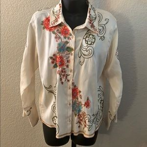 Johnny Was Silk Embroidery Button Up Blouse Top